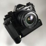 canon a1 ancien appareil reflex 35mm 135 noir 24mm 2.8 motor drive