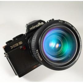 minolta xg9 rokkor  appareil argentique ancien 35-70mm zoom reflex auto mode noir