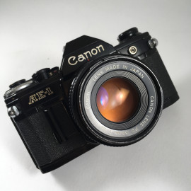 canon ae1 ae-1 reflex analog 50mm 1.8 35mm 135 black