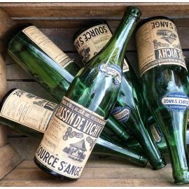 Bouteille Bassin de Vichy St Ange 1930 vert ancien vintage bar source eau