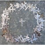 little metallic metal rosary cross 1950 1960 christian christ vintage antique