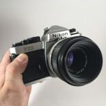 film camera reflex 1983 nikon fe2 chrome micro nikkor 55mm 3.5 35mm vintage