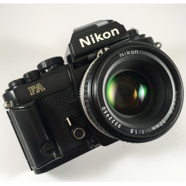 film camera reflex 1983 nikon fa black nikkor 50 1.8 35mm vintage
