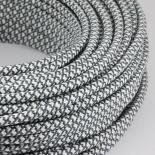 cable electrique couleur fil textile vintage tissu croisillon chanvre et graphite rond coloré luminaire lampe