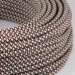 cable electrique couleur fil textile vintage tissu croisillon chanvre et rouge rond coloré luminaire lampe