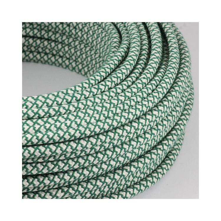cable electrique fil textile vintage tissu croisillon chanvre et vert rond