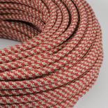 cable electrique fil textile vintage tissu chanvre et rouge rond