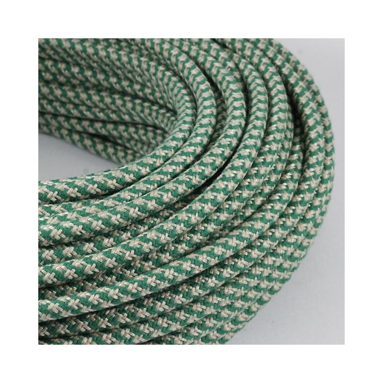 cable electrique fil textile vintage tissu chanvre et vert rond