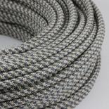cable electrique fil textile vintage tissu chanvre et graphite rond
