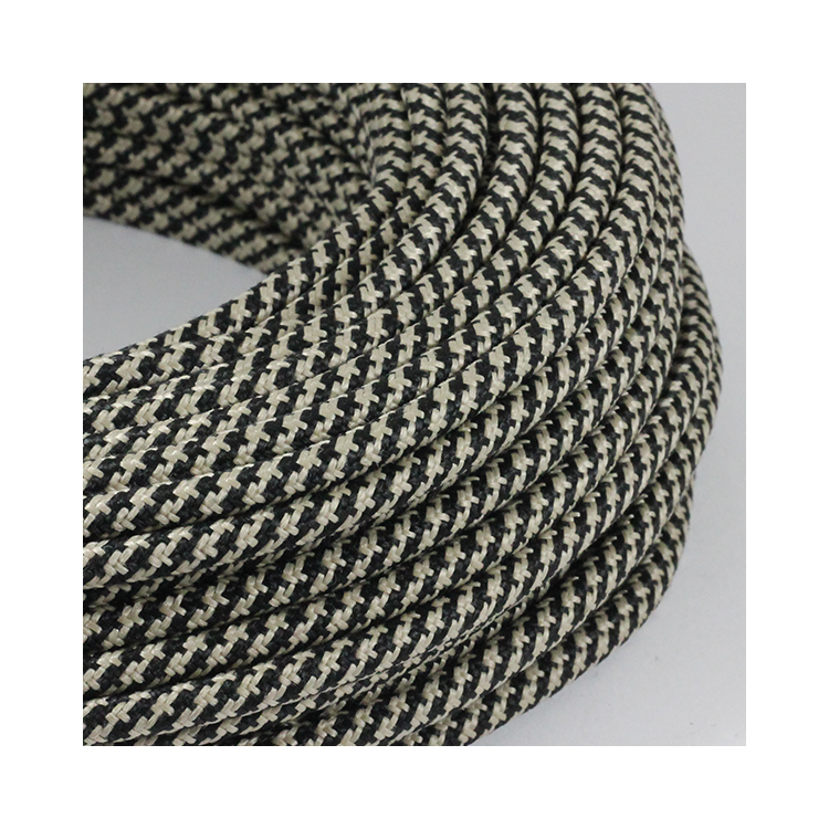 cable electrique couleur  fil textile vintage tissu chanvre et noir rond coloré lampe luminaire