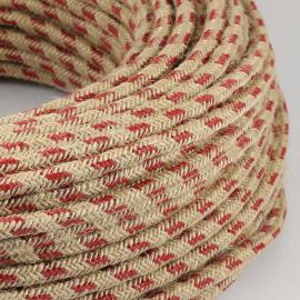 cable electrique fil textile vintage tissu marine rouge rond chanvre escalade montagne