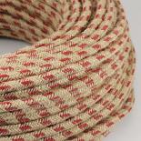 cable electrique couleur fil textile vintage tissu marine rouge rond chanvre escalade montagne coloré luminaire lampe