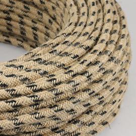 cable electrique fil textile vintage tissu marine noir rond chanvre escalade montagne