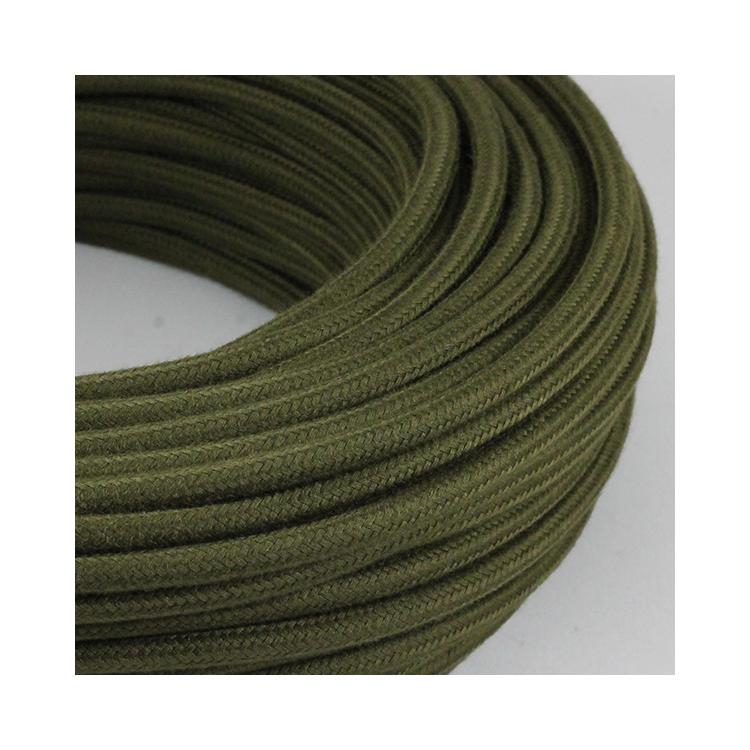cable electrique couleur fil textile vintage tissu vert militaire armée rond coloré