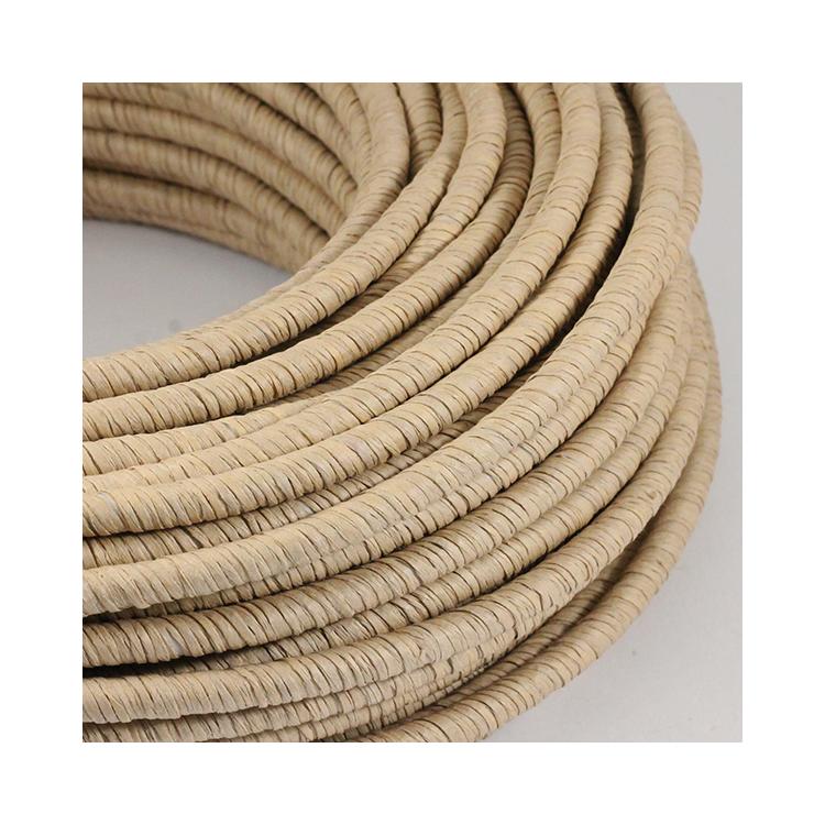 cable electrique fil textile vintage papier tressé raphia rafia textile rond