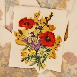 décalcomanie décalco double rose violet bouquet fleurs fleur 1950 1960 sticker 1