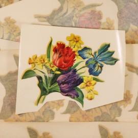 décalcomanie décalco double rose rose fleurs fleur 1950 1960 sticker 1 bouquet violet rouge
