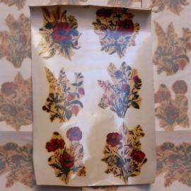 décalcomanie décalco double fleurs fleur 1950 1960 sticker grande