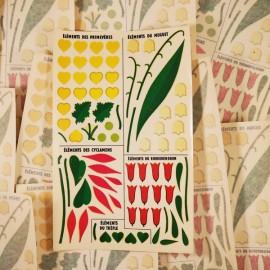 décalcomanie décalco double primevère muguet fleurs fleur 1950 1960 sticker 1