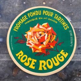 grande étiquette de fromage fromagerie imprimeur imprimerie 1960 rose rouge savoie