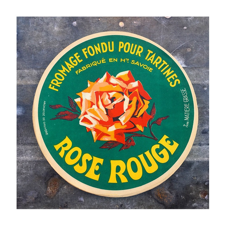 big label paper 1960 cheese french france round advertising washing rose rouge red rosis