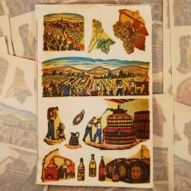 décalcomanie ancien décalco vin vigneron 1950 1960 décoralo pressoir