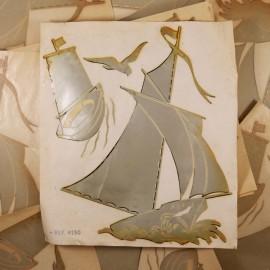décalcomanie ancien décalco 1950 1960 décoralo bateau mouette