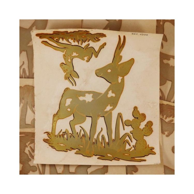 décalcomanie ancien décalco 1950 1960 biche faon bambi