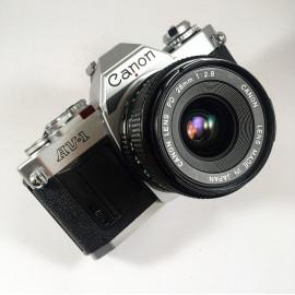 Canon AV-1 AV1 silver Reflex 35mm analog film camera vintage 28mm 2.8 fd lens
