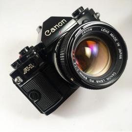canon a1 ancien appareil reflex 35mm 135 noir 50mm 1.4 ssc