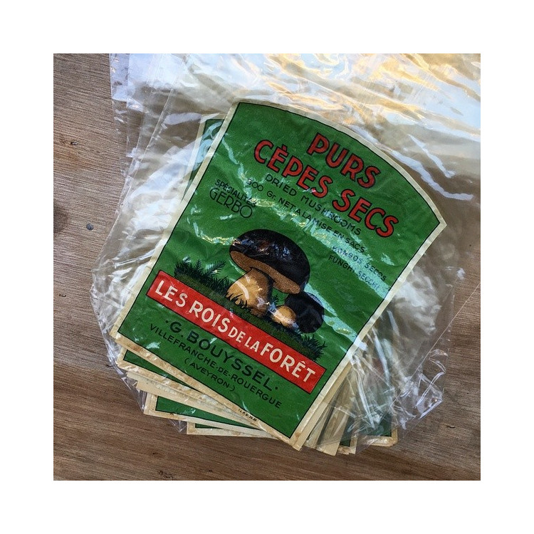 sachet plastique ancien emballage vintage cepes champignon les rois de la foret