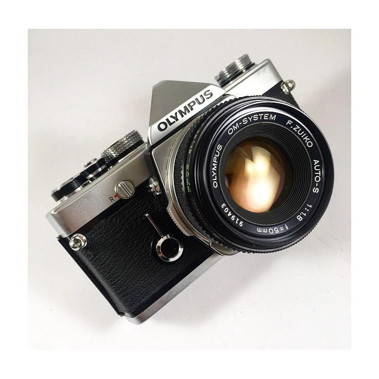 olympus om1 chrome silver 35mm 135 analog f.zuiko 50mm 1.8 reflex