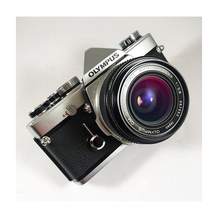 olympus om1 chrome silver 35mm 135 analog zuiko 28mm 2.8 reflex wide angle