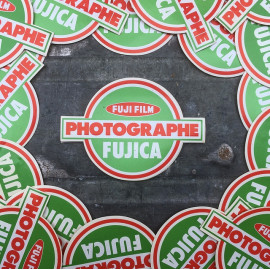 sticker fujifilm fuji fujica photo photography film analog vintage antique advertising green red 1970 1980