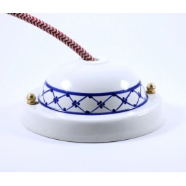 ceiling rose ceramic china 125mm 12,5cm large wide big cable wire blue decor art deco