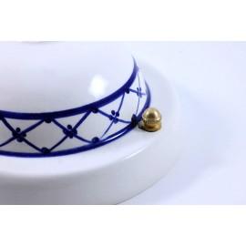 rosace large grande électricité vintage porcelaine céramique art deco frise décor bleu 125mm 12,5cm