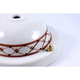 rosace large grande électricité vintage porcelaine céramique art deco frise décor rouge 125mm 12,5cm