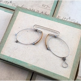 lunette ancienne métal XIX ème 1880 1870 titane paladium vue soleil solaire pince nez écaille gustave lorgnon binocle