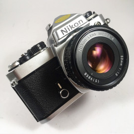 nikon fe nikon lens series e 50mm 1.8 vintage analog camera reflex