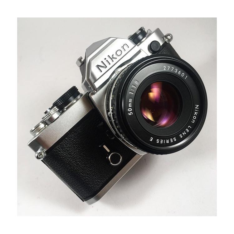 nikon fm chrome reflex analog 50mm nikon lens series e 1.8 135 35mm