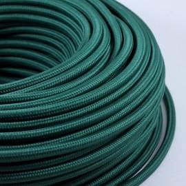 cable electrique fil textile vintage tissu vert foncé rond