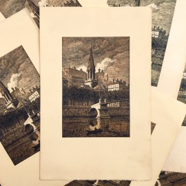 print paper antique old printing vintage black and white st georges 1930 lyon fourviere church