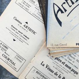 Movie Theater Program Lyon France Antique Vintage Paper Artistic 1938 1939 1940