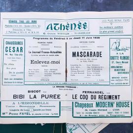 Programme de Cinema Theatre Ancien Lyon Vintage Athénée Vert 1936 1937