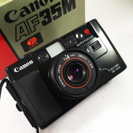 canon af35m 38mm 2.8 point and shoot analog camera film 1980 flash 35mm 135 boxed box