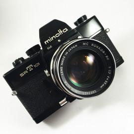 minolta srt 101 srt101 black vintage analog camera reflex 24 36 35mm 55mm 1.7 rokkor
