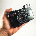 konica pop hexanon 36mm 4 compact point and shoot antique vintage 1982 flash