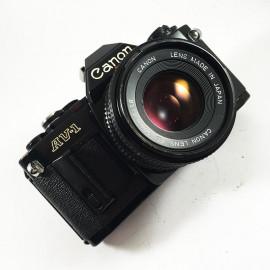 canon av-1 50mm 1.8 fd reflex 35mm film analog black reflex camera
