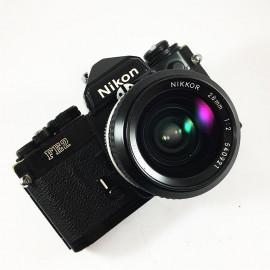 film camera reflex 1983 nikon fe2 black nikkor 28mm f2 35mm vintage