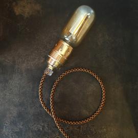 cable electrique fil textile vintage tissu croisillon whisky or doré noir rond